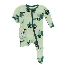 kickee pants pistachio tractors & wheat footie with zipper
