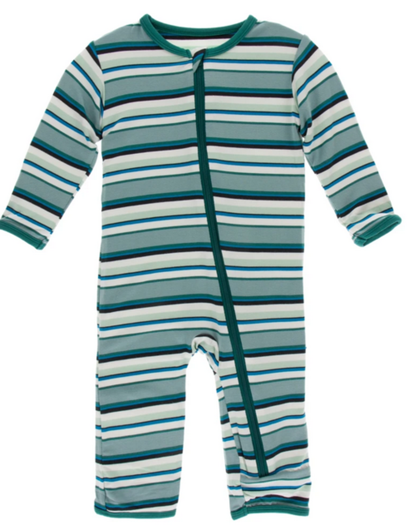 kickee pants multi agriculture stripe coverall with zipper