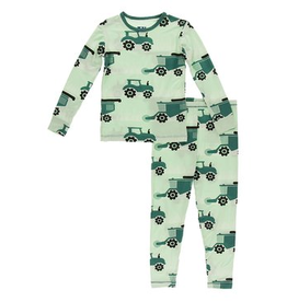 kickee pants pistachio tractor long sleeve pajama set
