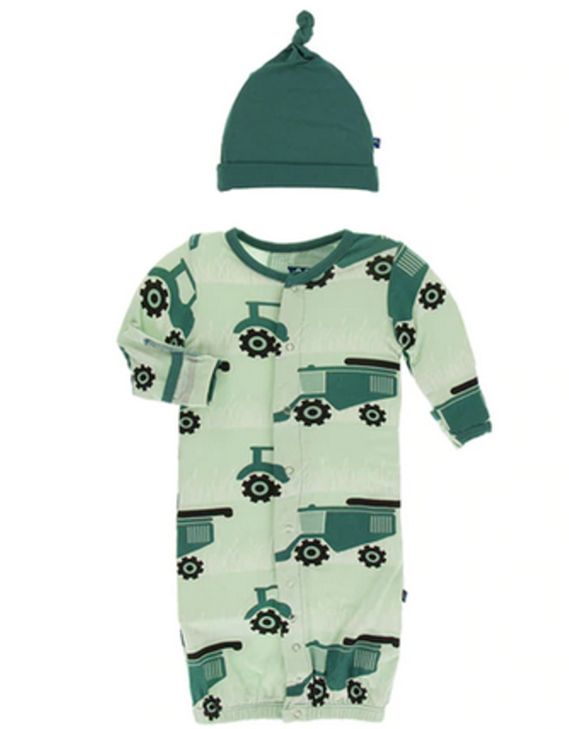 kickee pants pistachio tractors & wheat gown converter and knot hat set
