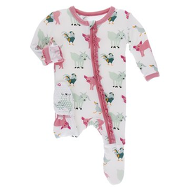 kickee pants natural farm animals muffin ruffle footie with zipper