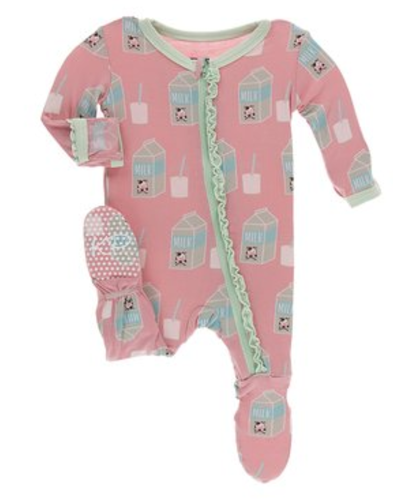 kickee pants strawberry milk muffin ruffle footie with zipper