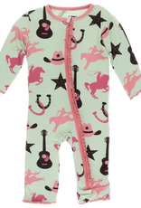 kickee pants pistachio cowboy muffin ruffle coverall with zipper