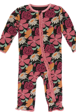 kickee pants zebra market flowers muffin ruffle coverall with zipper