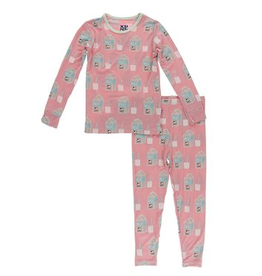 kickee pants strawberry milk long sleeve pajama set
