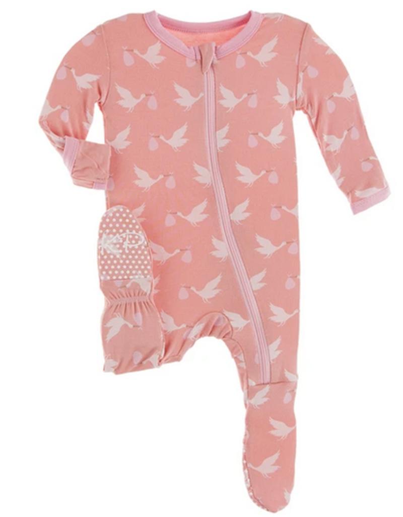 kickee pants blush stork footie with zipper