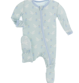 kickee pants spring sky stork footie with zipper