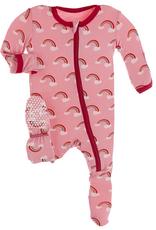 kickee pants strawberry rainbows footie with zipper
