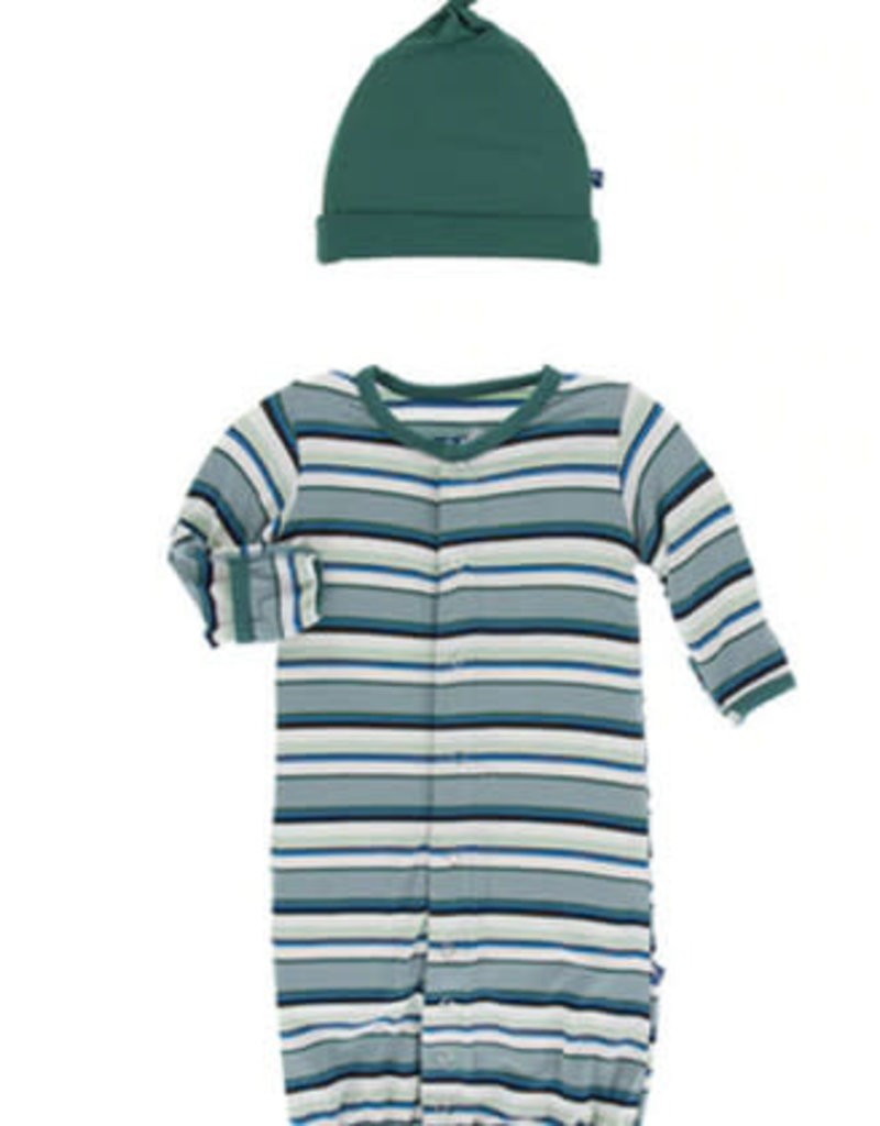 kickee pants multi agriculture stripe gown converter & knot hat set newborn