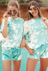 LivyLu lagoon blue reverse tie dye shorts