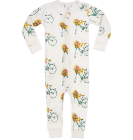 milkbarn bamboo zip pajamas floral bicycle