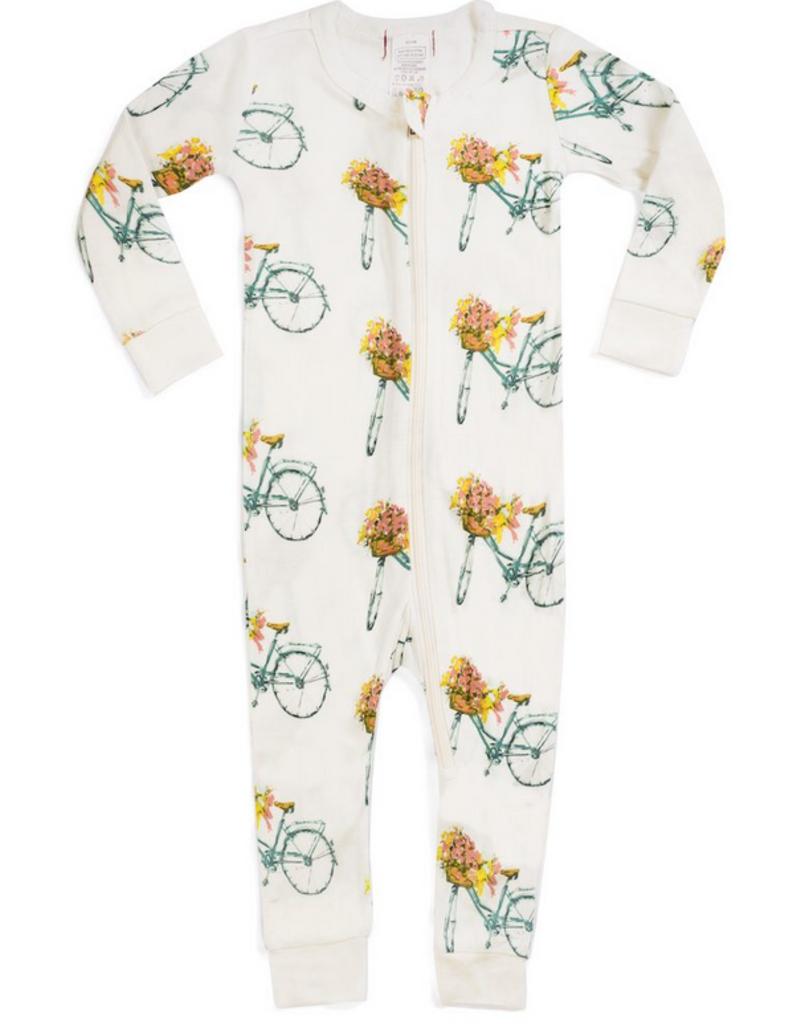 milkbarn bamboo zip pajamas floral bicycle