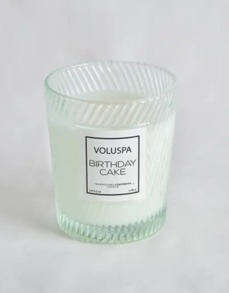 voluspa birthday cake classic candle in textured glass