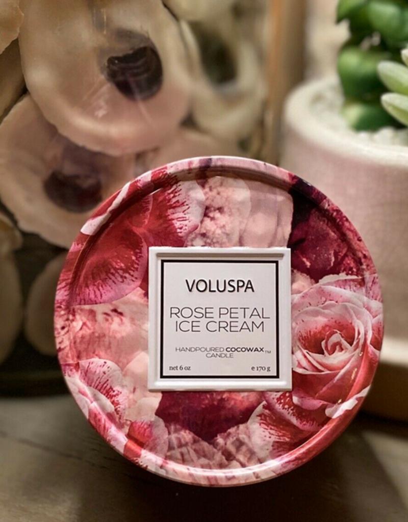 voluspa rose petal ice cream tin candle 6oz
