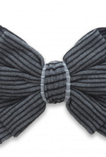 Baby Bling ribbed bow clip charcoal