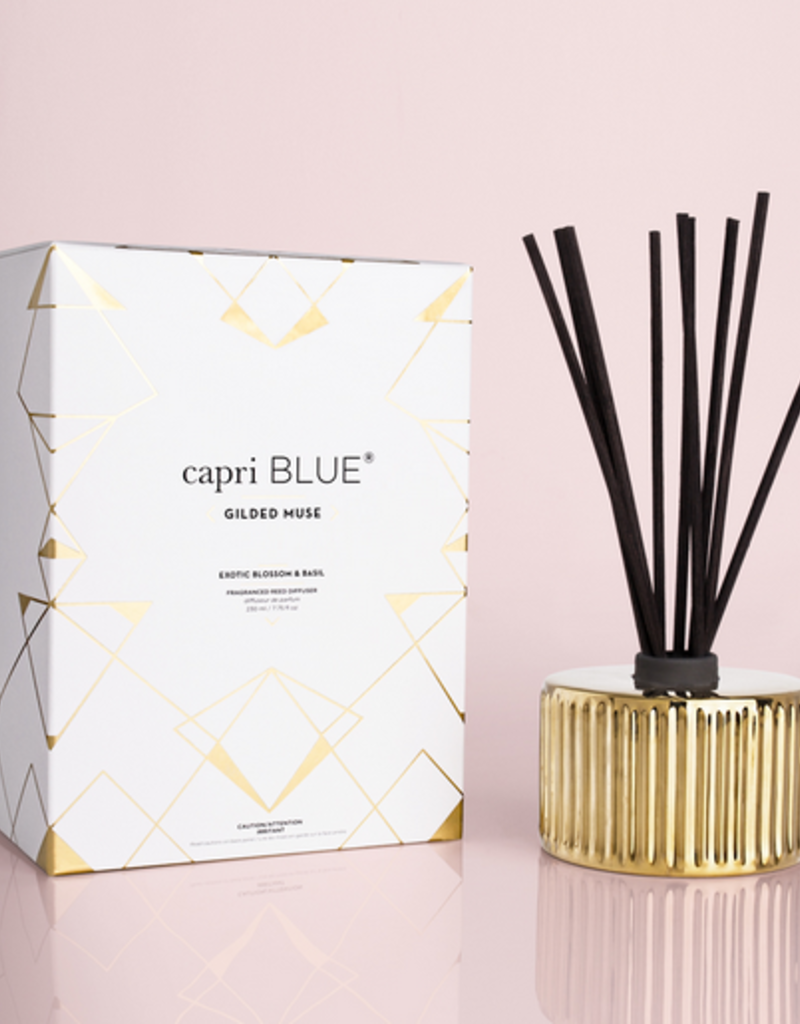 capri blue exotic blossom & basil gilded reed diffuser 7.75oz