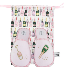 champagne slippers & bag