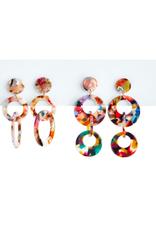 two's company multicolored tortoise hoop earrings