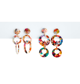 two's company multicolored tortoise hoop earrings