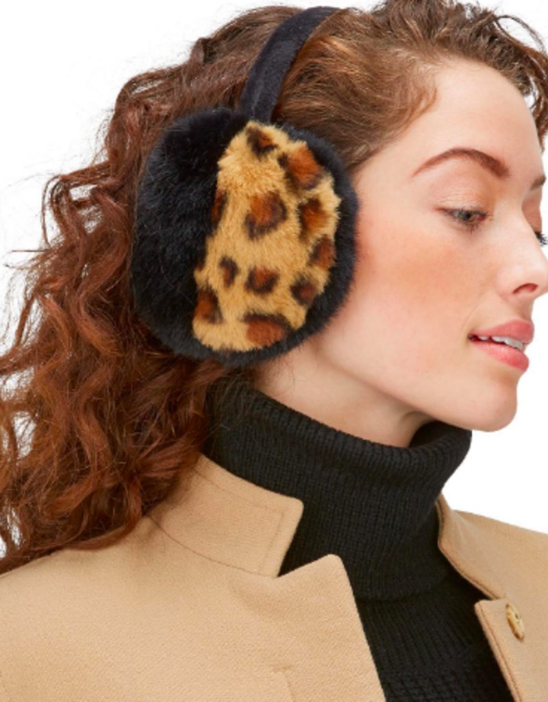two's company leopard faux fur earmuffs