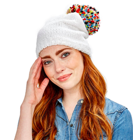 two's company chenille hat with yarn pom pom