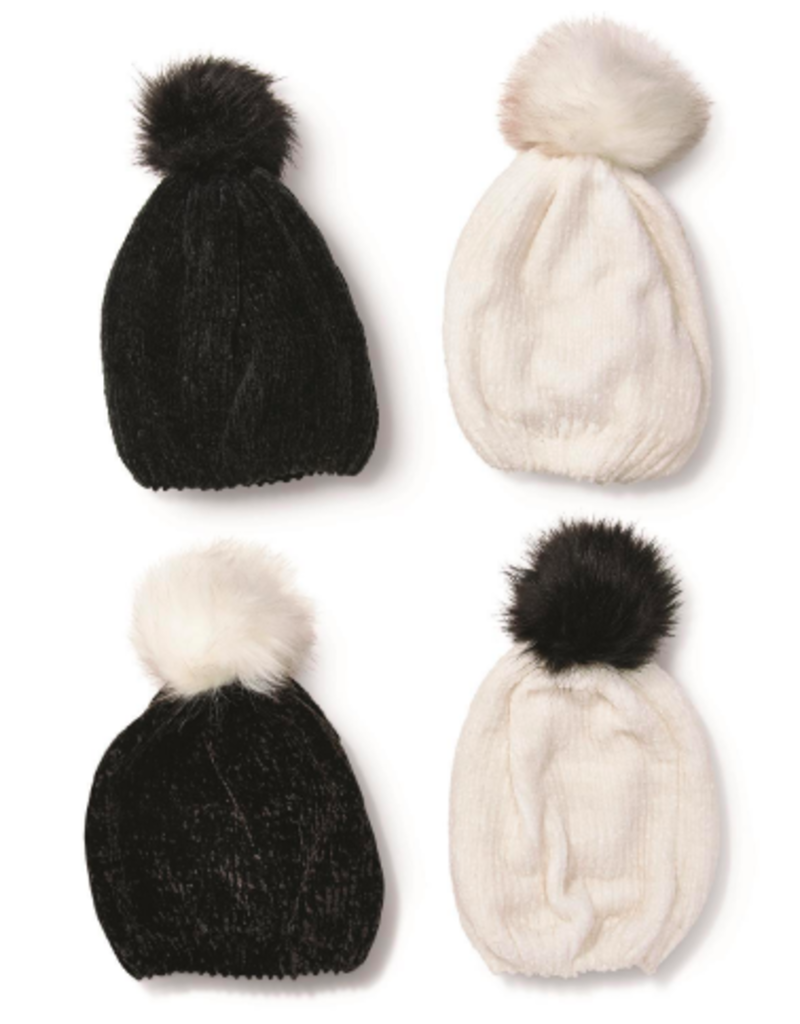 two's company chenille hat with fur pom pom