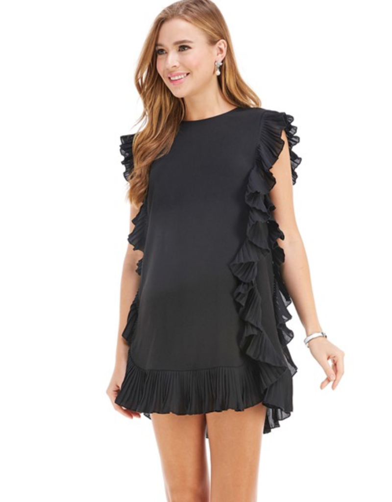 coco side ruffle trim dress