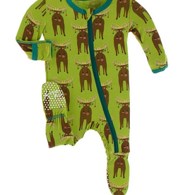 kickee pants meadow bad moose footie with zipper FINAL SALE