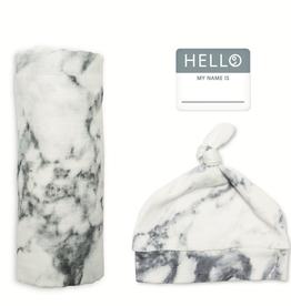 mary meyer hello world hat & swaddle set - marble