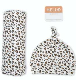 mary meyer hello world hat & swaddle set - leopard