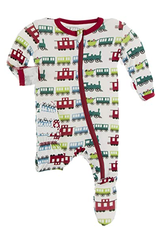kickee pants natural toy train footie with zipper