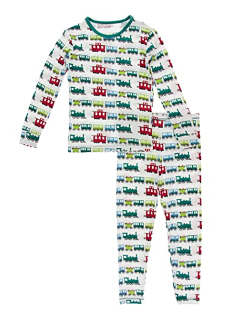 kickee pants natural toy train long sleeve pajama set