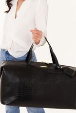 celine faux croc weekender bag - black