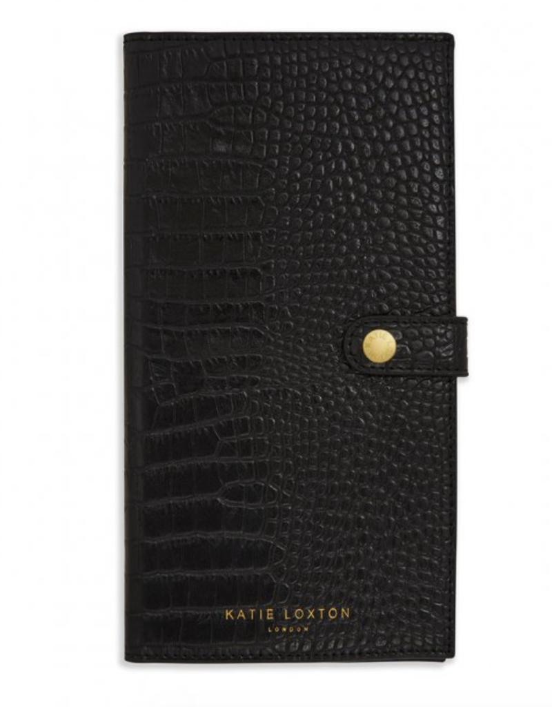 celine faux croc travel wallet - black