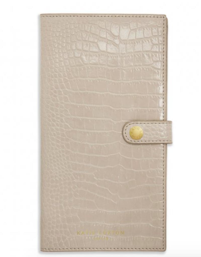 celine faux croc travel wallet - oyster grey