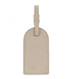 celine faux croc luggage tag - oyster grey