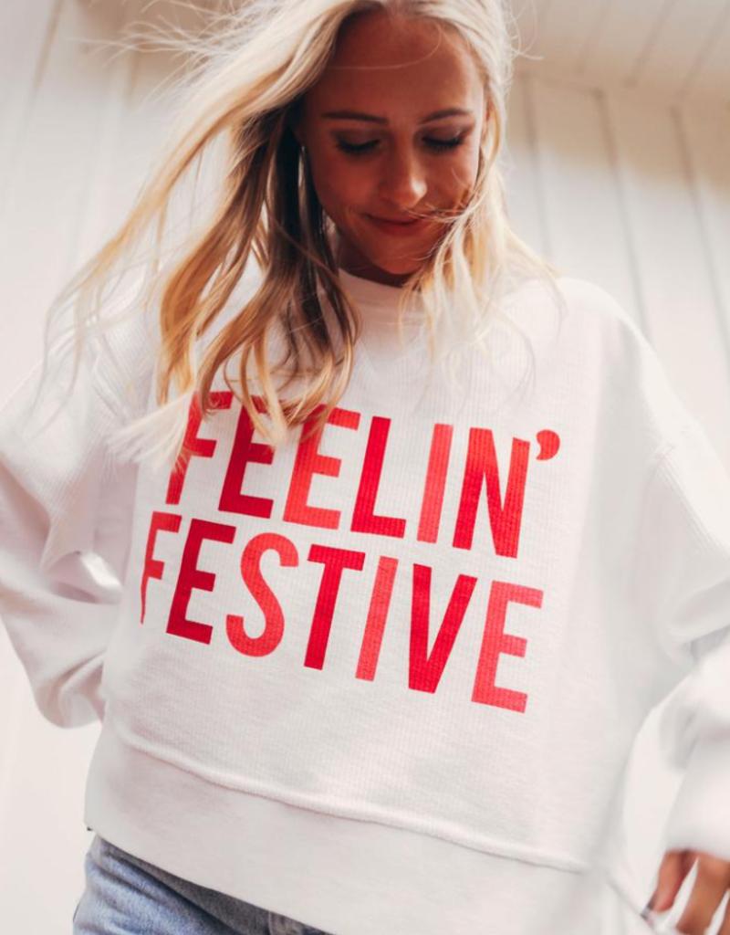 friday + saturday feelin festive cropped sweatshirt