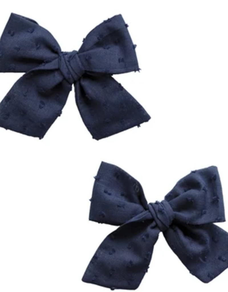 Baby Bling 2 set big cotton clips navy dot