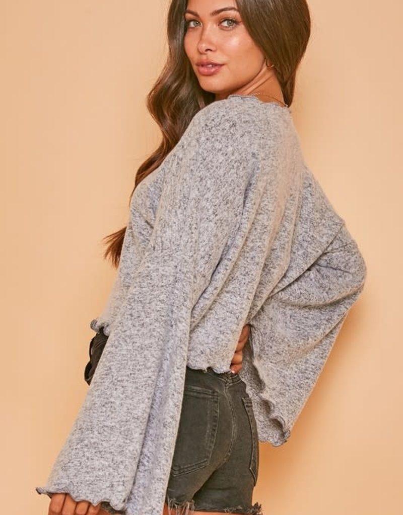 scalloped hem knit crop top