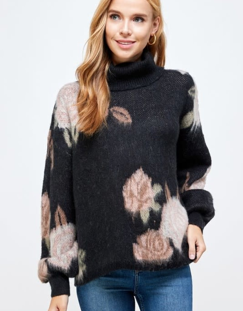 See and be Seen floral turtle neck