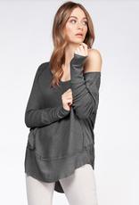 dex long sleeve wide scoop neck top