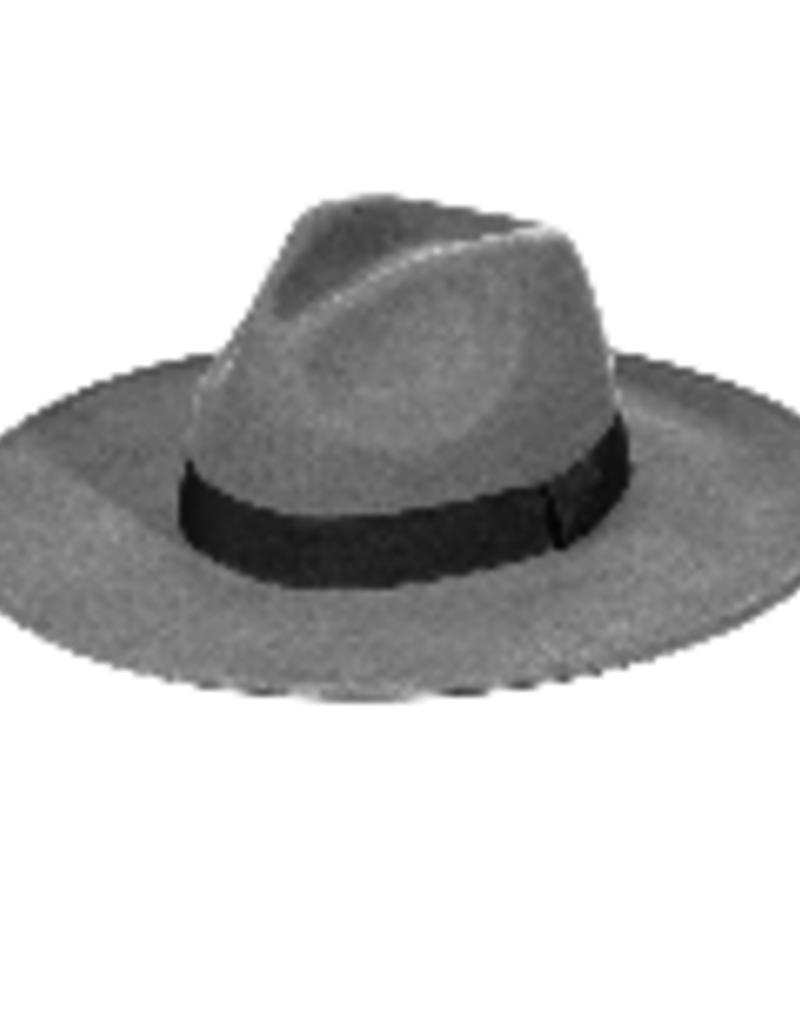 grey & black wide brim hat