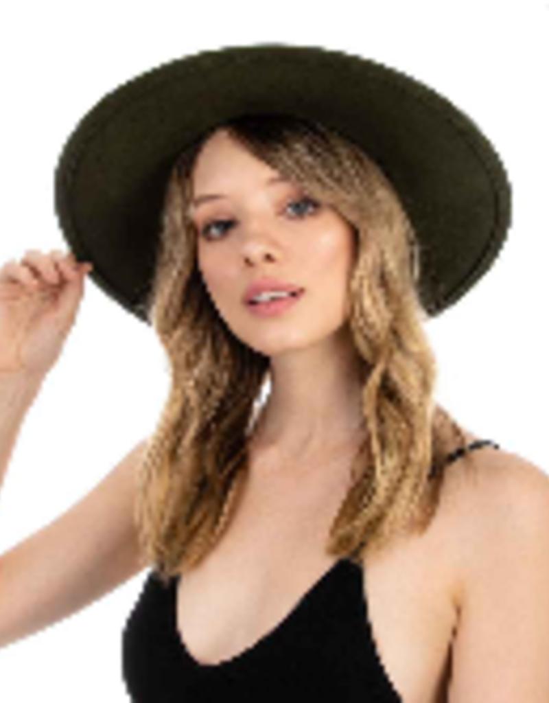 olive wide brim hat