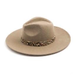 snakeskin trim wide brim hat