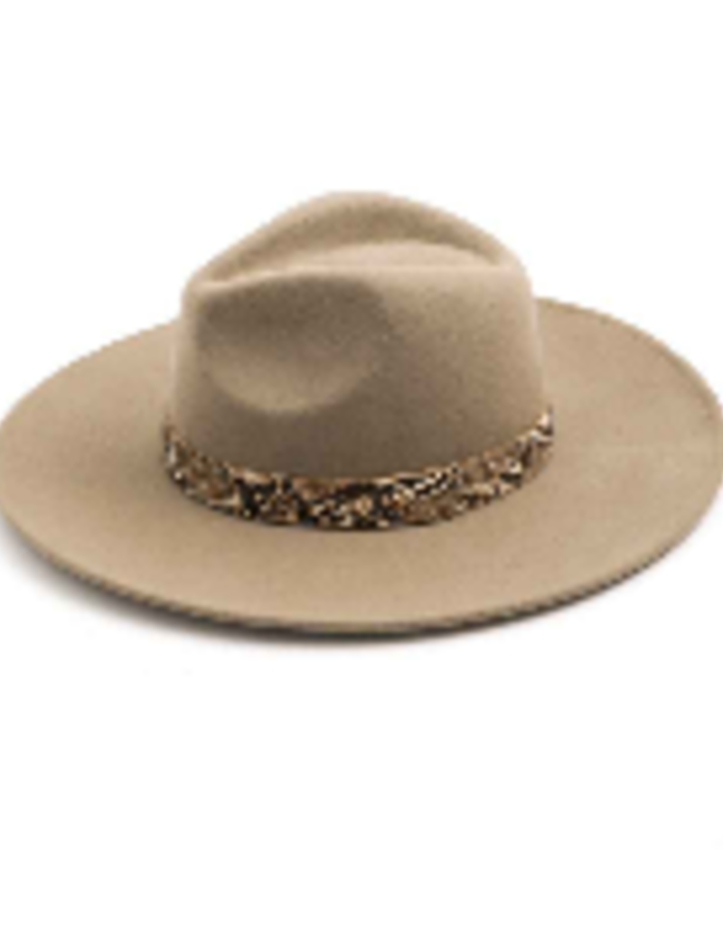 snakeskin trim wide brim hat