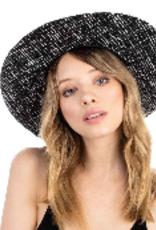 black tweed wide brim hat