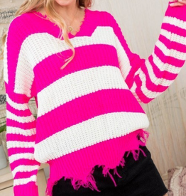 Main Strip frayed v-neck stripe sweater