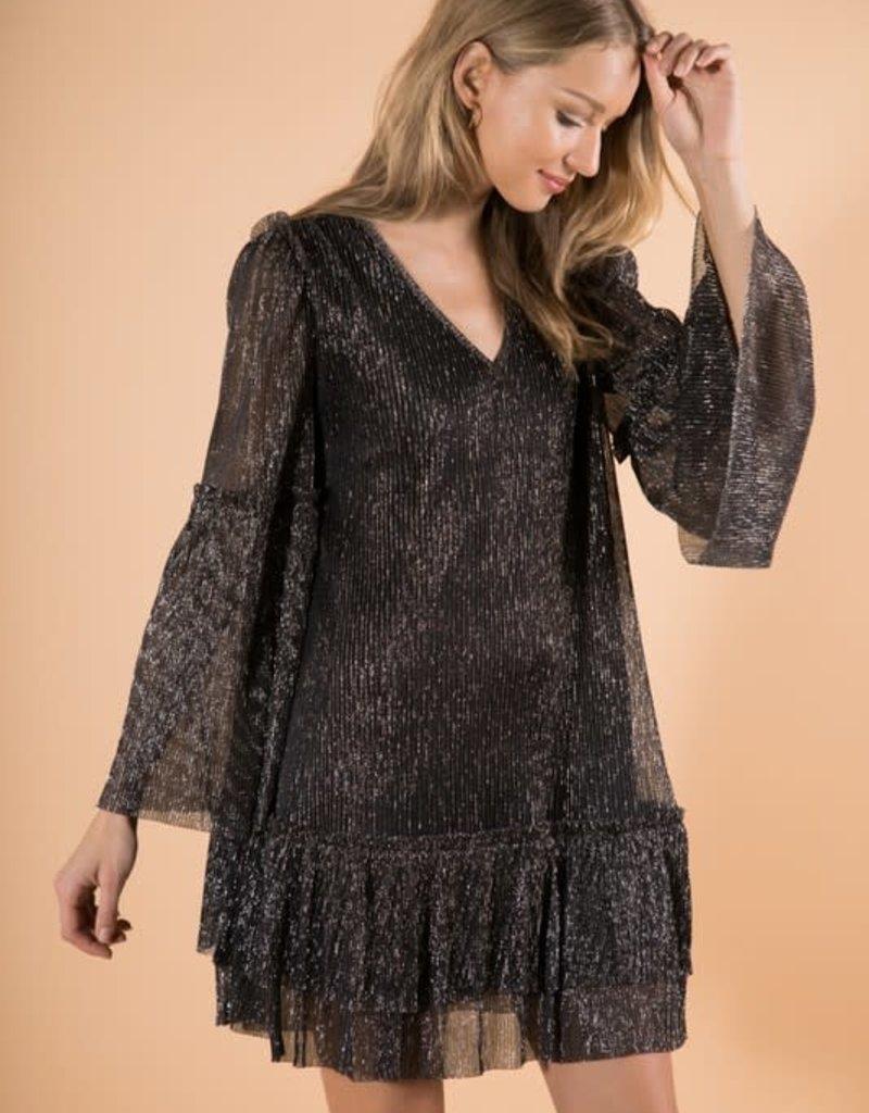 metallic ruffle tiered dress
