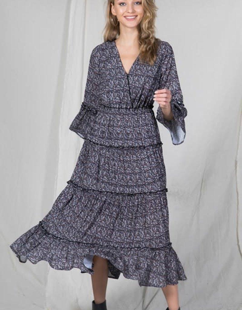 paula tiered printed dress