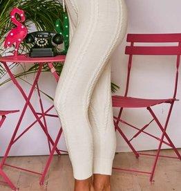 high waist cable knit sweater loungewear pant final sale